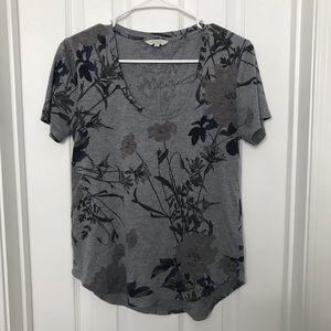 Lucky Brand Gray Black Floral Shirt